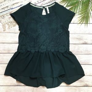 Xhilaration Forest Green Lace Peplum Top Medium
